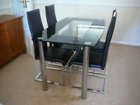 Smoked Glass Dining table & Chairs