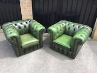 Pair chesterfield club chairs (delivery available)