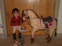"""Our Generation 18"""" Lily Anna RIDING DOLL + Morgan horse"""