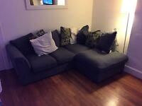 Left hand corner sofa in grey