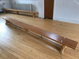 11 Foot Long Wooden Traditional School Sports Wooden Gym Bench no. 1