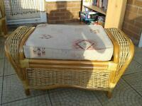 Wicker footstool for conservatory. Beige colour