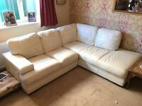 Leather Corner sofa - off white