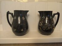 Pair of Jackfield Queen Victoria jugs