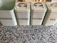 Set of four matching kitchen canisters