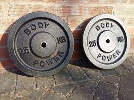 BODY POWER CAST IRON 25KG WEIGHT PLATES