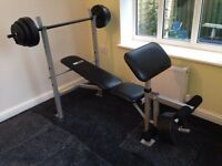 Gym bench with Bar ( Pro Fitness ) Nearly New Hardly used