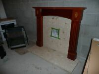 gas fire place with marble plinth and mantle piece