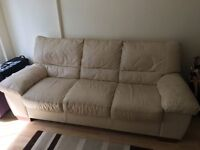 for sale cream leather three seater sofa