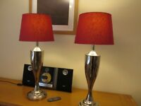Pair Matching Silver Table Lamps with Shades