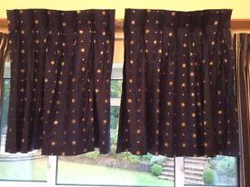 "Blue/gold hand sewn triple pinch pleat curtains 36"" x 44"""
