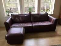 4 seater leather sofa and foot stool