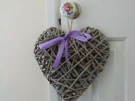Wicker Heart With Purple Bow