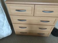 Solid chest of drawer and bedside cabinet