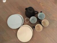 John Rocha Slate Stoneware - Set of tea/coffee pot, cups and plates