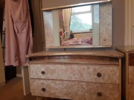 Old style retro wardrobe, chest of draws and vanity draws