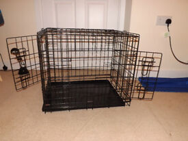 PUPPY DOG CRATE CAGE PEN WITH REMOVABLE METAL TRAY