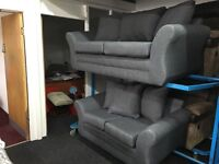 New Ex Display - dfs GREY FABRIC 3 Seater + 2 Seater Sofas