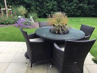 All weather garden table, chairs & parasol