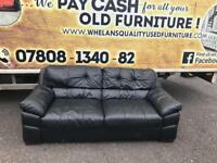 3 seater sofa in black leather £139