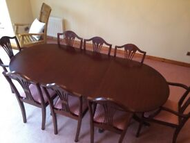 Mahogany dining table with chairs