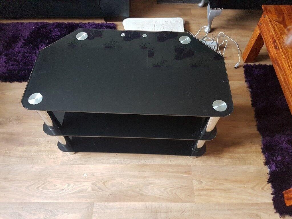 Free black glass tv unit