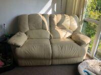 Cream leather reclining 2seater sofa