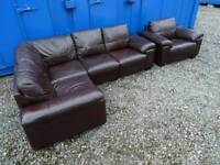 DFS 'LINEA' Leather Corner Sofa+Matching Armchair *Excellent Condition*