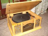 Wooden Prolectrix Retro Style Cd / Radio/ Vinyl Turntable 45/ 33 Music Centre