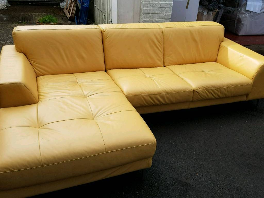 Yellow Leather Corner Sofa Great Condition In Southside