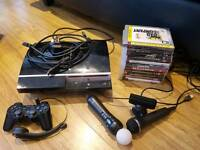PS3 Bundle 40GB + 11 Games + Controller + Bluetooth Headset + Move Controller + Eye Camera + USB Mic