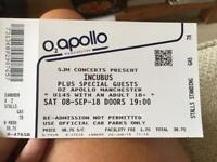 Incubus standing ticket Manchester