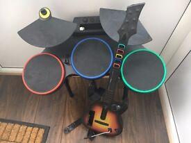 Nintendo wii guitar hero drums and guitar
