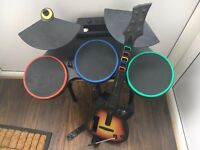 Nintendo wii guitar hero drums and guitar