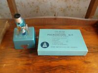 microscope with box of equipment- collectable -retro from 1960s