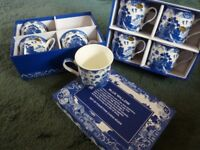 Blue Willow fine china mugs, set of 8 (2x4) - boxed and unused.