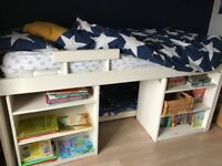 Stompa Cabin Bed with desk and shelves white
