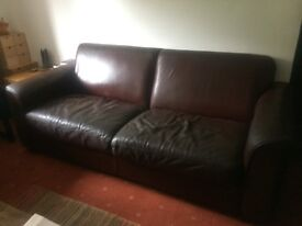 For Sale - Vintage brown leather settee. Marked with age but no tears or holes. Great buy.