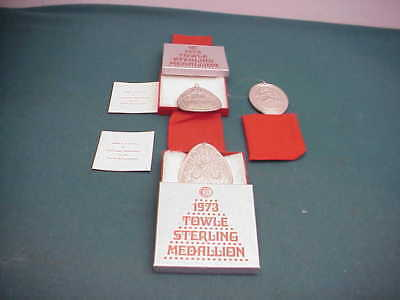 Towle pre-owned Sterling Silver 3 Medllions Christmas ornaments 1972 2- 1973 ()