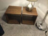 TWO NEXT WALNUT LAMP TABLES SIDE TABLES