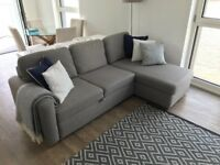 Grey three seater corner storage sofa bed - John Lewis