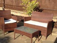 Rattan garden furniture set - brown