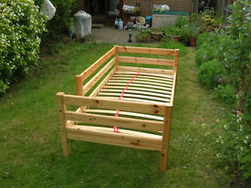 FLEXA solid pine child's single bed + high sleeper conversion