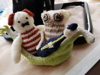 Handmade knitted owl and the pussycat