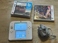 Nintendo 2DS Console, White/Red + 2 Games
