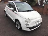 fiat 500 2008 08 1.2 lounge white 94k mileage panramic glass roof alloy wheels