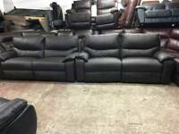 Ex display brown reclining 3 seater + 3 seater