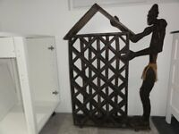 African Asiment Titk wooden carved wine rack