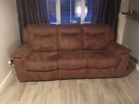 3 seater recliner sofa and cuddle chair with foot stool