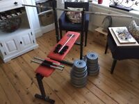 Pro Power Weight Lifting Bench With Bars And Weights
